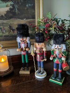"""Large wooden christmas Nutcracker Soldiers vintage style """"Set of 3"""""""