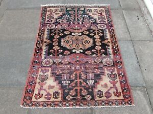 Vintage Worn Hand Made Traditional Oriental Wool Faded Blue Pink Rug 142x105cm