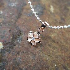 8mm Pink Rose Gold Plated Plumeria Hawaiian 925 Silver Pendant Necklace #SP87109