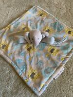 Blankets And Beyond Gray Yellow Blue Fleece Elephant Lovey Security Blanket Toy