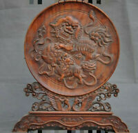 "13""Chinese Boxwood Wood carved fengshui Lion Foo Dog Phoenix statue screen plate"