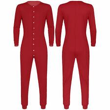 Mens one piece Long Sleeve Front Button Down Jumpsuit pyjamas Sleepwear Pajamas