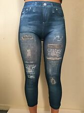 Women's Chuns Denim Short Capri PRINTED Jeggings One Size Fits Most