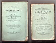 CABINET DE A. ROCHEBILIERE BIBLIOPHILIE 2 VOL CATALOGUE DE VENTE 1882-84 LIVRES