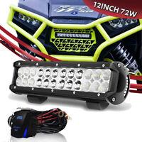 12 inch 72W White LED Work Light Bar Combo Kit For Driving Lamp 10