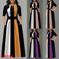 Women's Winter Boho Striped Long Sleeve Long Maxi Dress Party Beach Sundress USA