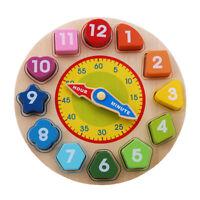 Children Kids Wonden Toys Wooden Shape Sorting Clock Educational Toy New J