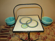 Vintage WROUGHT IRON  table plant stand California pottery TILE mid century