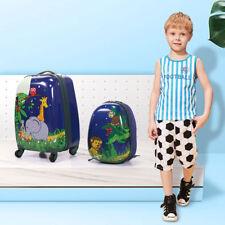 """Kids Carry On Luggage 2Pc Set 12"""" 16""""Upright Hard Side Hard Shell Suitcase"""