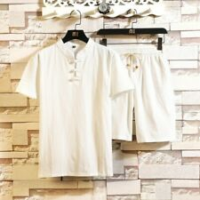 Men's Retro Cotton Linen Suit T Shirts Shorts Set Chinese Style Pure Color Tops