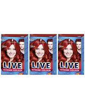 Schwarzkopf LIVE Intense 035 Real Red Pro Permanent Hair Colour Dye x 3 Pack