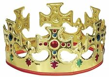 King Crown Hat Gold Jeweled Regal Adults Prince Costume Showing Movie, Plastic