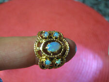 ANTIQUE VICTORIAN SOLID 14KT NATURAL FIRE OPAL 5STONES DOMED 5.5SZ FILIGREE RING