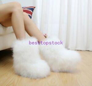 Ostrich Fur Women Long Bootleg Eskimo Hair Fluffy Boots Sexy hot Furry Boot