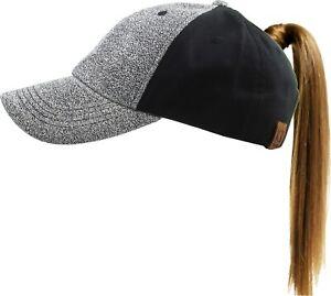 Ponycap Glitter Messy High Bun Ponytail Adjustable Baseball Cap Hat