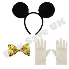 CHILDRENS KIDS GIRLS MICKEY MOUSE EARS GLOVES & GOLD BOW TIE FANCY DRESS COSTUME