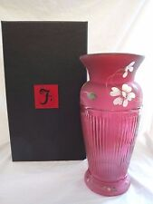 #2/12 HAND PAINTED 2014 FENTON CRANBERRY RED VASE DESIGNER FRANCES BURTON