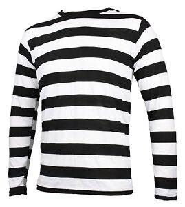 NYC Long Sleeve PUNK GOTH Pierrot Mime Stripe Striped Shirt Black White S M L XL
