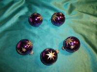 ~ 5 alte Christbaumkugeln Glas lila violett Sterne gold Weihnachtskugeln Vintage