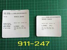 Porsche 911 993 964 968 VIN Data Bonnet Hood Maintenance Book Labels Stickers