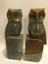 Pair of Art Deco-Style Stone Owl Bookends