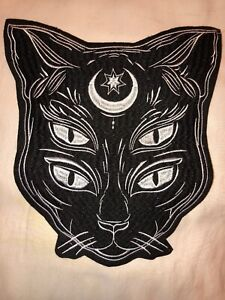 """BLACK CAT CRESCENT MOON STAR IRON ON PATCH 10"""" FULLBACK OCCULT WICCAN WITCH"""