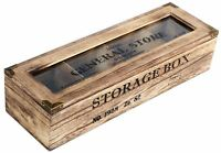 Rustic Wooden 4 Compartment Storage Box Tea Coffee Capsule Container With Lid