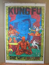 vintage Kung Fu one with Nature Black light  Poster orig unused 1970s  5228