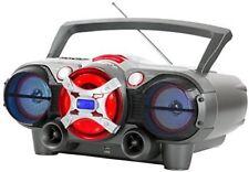 QFX J50U Bluetooth Boombox CD MP3 AM FM Radio Cassette Player SilverRed