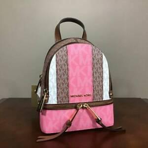 Michael Kors Rhea XS Mini MK Signature Messenger Backpack Tea Rose Multi Gold