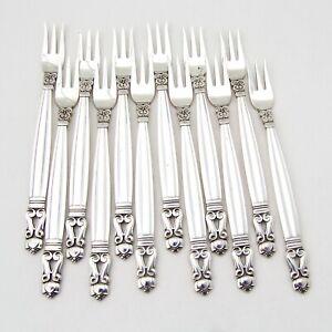 Acorn 12 Cocktail Forks Set Georg Jensen Sterling Silver No Mono