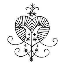 Erzulie Voudou vodun voodoo love magic heart veve black vinyl decal sticker