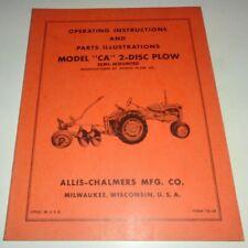 Allis Chalmers Ca 2 Disc Plow Operatorsampparts Manual Original Tractor Semi Mntd