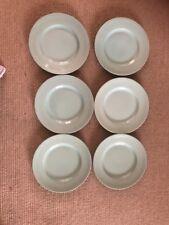 "Set of 6 Woods Ware Beryl light green 9"" dessert or salad plates"