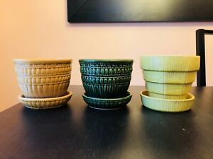 (3x) Vintage Mccoy USA Pottery Planters with Attached Drip Saucer/Tray