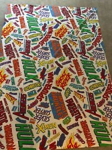 "Marvel Comic Super Hero Avengers Logo 1994 Flat Bed TWIN Sheet 94 X 66"" VINTAGE"