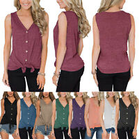 Women Summer Casual Sliming Tie Knot Blouses Button Down Tops Shirts Plus Size