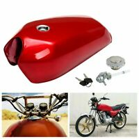 9L 2.4 GAL Motorcycle Fuel Gas Tank Cap Lock For Honda CG125 Cafe Racer Red