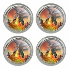 Flying Dragon Fire Breathing Fantasy Metal Craft Sewing Buttons - Set of 4