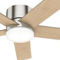 Hunter Fan 52 in Low Profile Brushed Nickel Ceiling Fan with Light Kit & Remote
