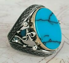 Anchor Ottomane Türkis  Edelstein Solide 925 Sterling Silber Ring Edelstein