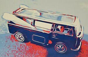 Hot wheels Redline Beach Bomb Postcard Art work