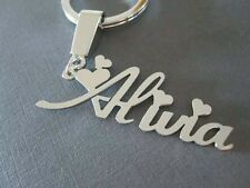 PERSONALIZE SILVER KEYCHAIN WITH YOUR NAME HAND CAVERD, NEW FONT IN STEEL COATED