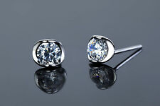 925 Sterling Silver Simulated Brilliant Diamond Studs Equiv To .5 Carat Each