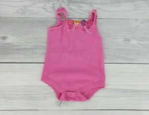 Baby Girl One Piece Bodysuit With Floral Accents 3-6 Months Pink