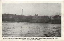 Grosvenordale CT Baseball Field & Mill in Flood 1936 Postcard