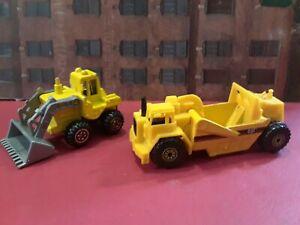 Matchbox 1:64 Scale Construction Lot of (2). Scraper Vehicle & Front Loader.