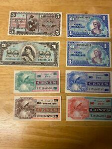 Unc. Series 661 Military Payment Certificate Lot - 5c|10c|25c|50c|$1|$5|$20