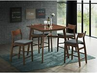 VILOBOS 5PC Counter Height Dining Table Set Kitchen Breakfast Pub Bar Chair Seat