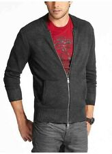 Guess Men's Dawson Long Sleeve Zip Up Sweater Foil Finish Size L